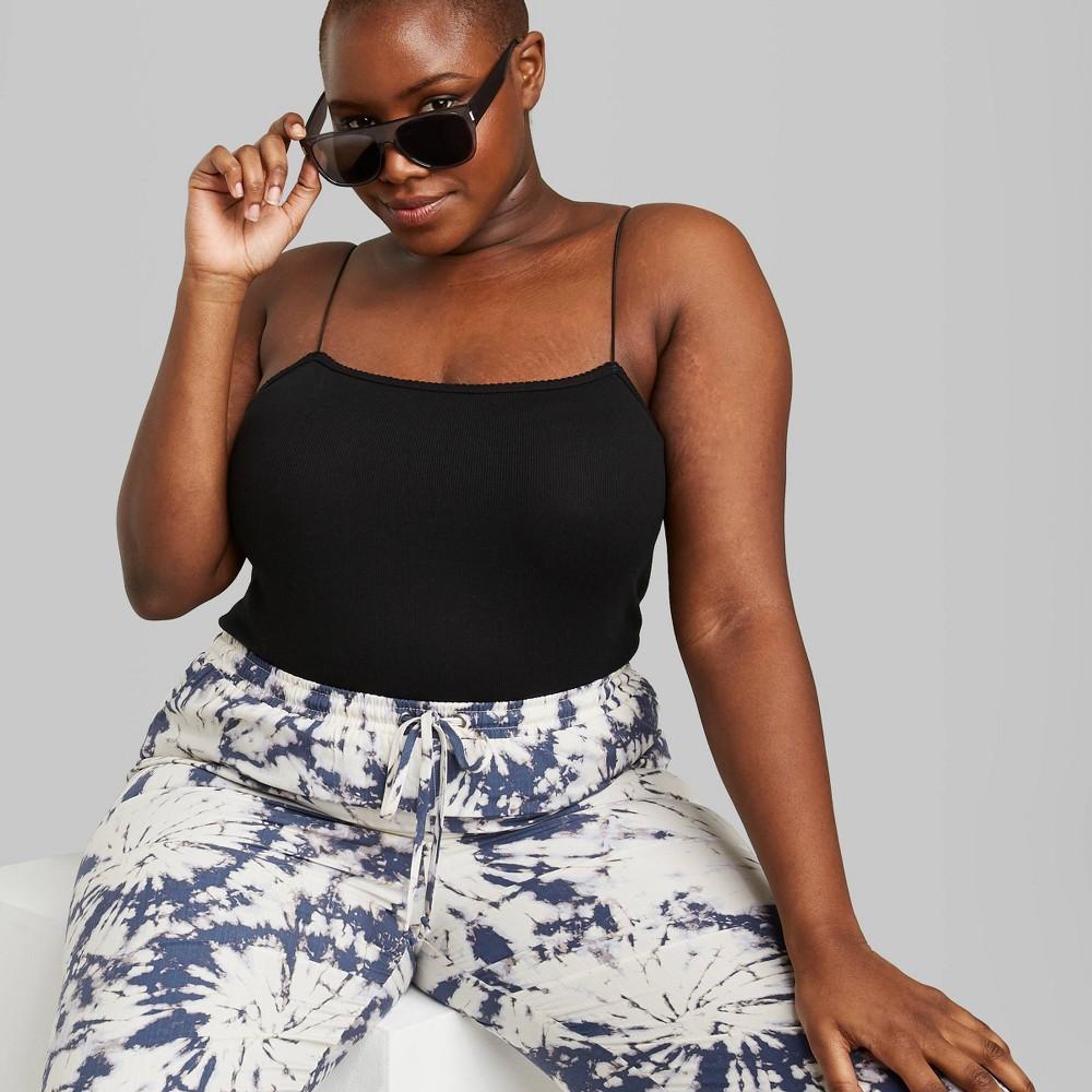 Image of Women's Plus Size Sleeveless Square Neck Elastic Strap Bodysuit - Wild Fable Black 1X, Women's, Size: 1XL