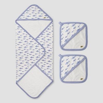 Layette by Monica + Andy Baby 3pc Shark Attack Bath Towel Set - Blue