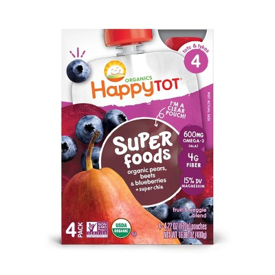 HappyTot Super Foods 4pk Organic Pears Beets Blueberries with Super Chia Baby Food Pouches - 16oz