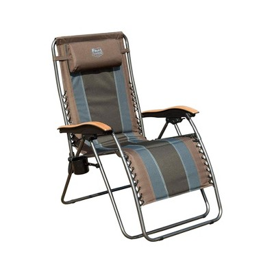 Timber Ridge Zero Gravity Oversized Outdoor Padded Stripe Folding Recliner Chair with Wood Armrests and Cup Holder for Adults