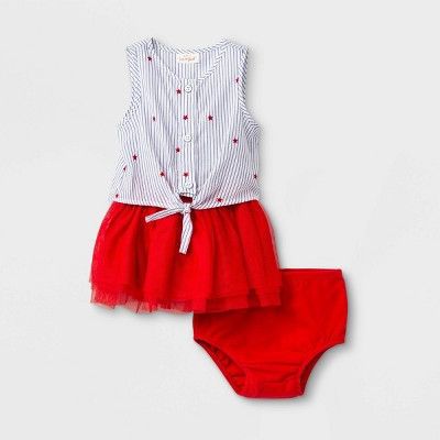 Baby Girls' 3pc Star Button-Up Dress Sets - Cat & Jack™ Red 12M