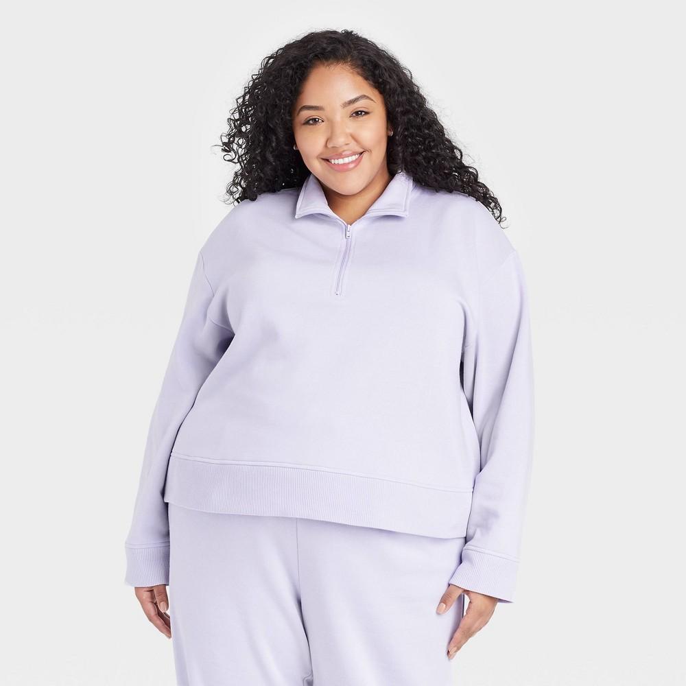 Women 39 S Plus Size All Day Fleece Quarter Zip Sweatshirt A New Day 8482 Lavender 4x