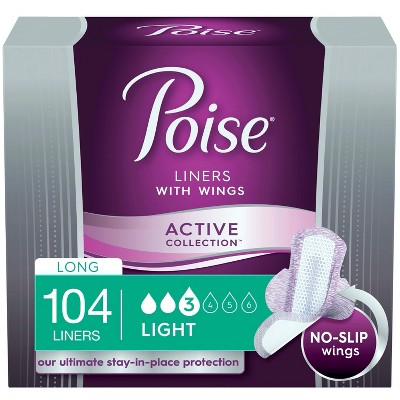 Poise Ultra Thin Fragrance free Incontinence Panty Liners with Wings -  Active Collection -  Light Absorbency -  Long -  104ct (4 Packs of 26)