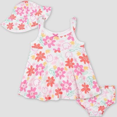 Gerber Baby Girls' 3pc Garden Sundress Set - Pink/White 0-3M