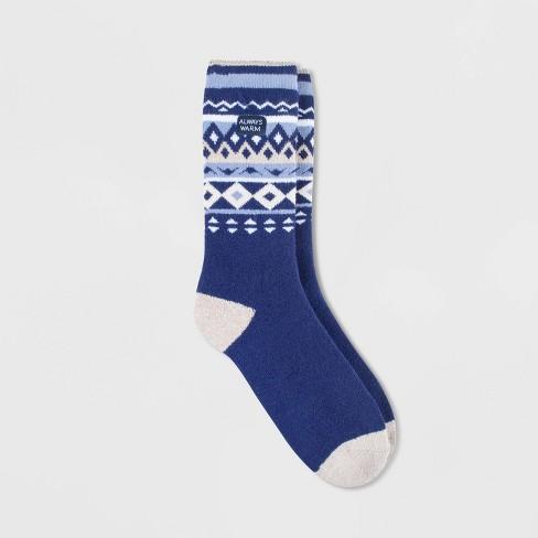 Always Warm by Heat Holders Women's Warmer Nordic Crew Socks - Navy/Cream 5-9 - image 1 of 2
