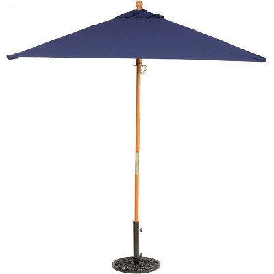 Oxford Garden 6 Ft. Square Hardwood Patio Market Umbrella W/ Push Lift - Sunbrella Canvas Navy - US6NV
