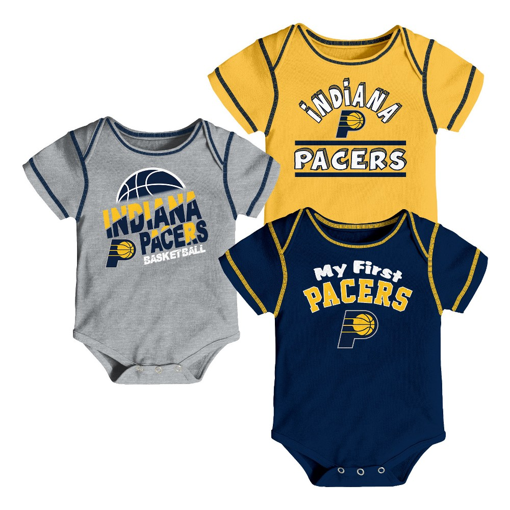 Indiana Pacers Boys' Rookie 3pk Body Suit Set 6-9M, Multicolored