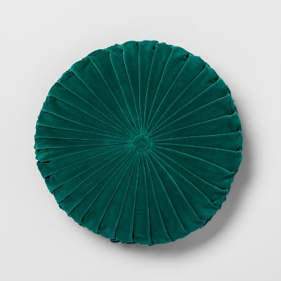 Green Pleated Velvet Round Throw Pillow - Opalhouse™