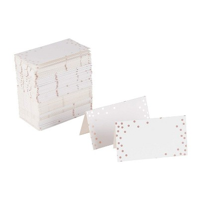 Best Paper Greetings 100-Pack Folded Rose Gold Polka Dots Blank Seating Tent Table Number Signs Place Cards, 2 x 3.5 in
