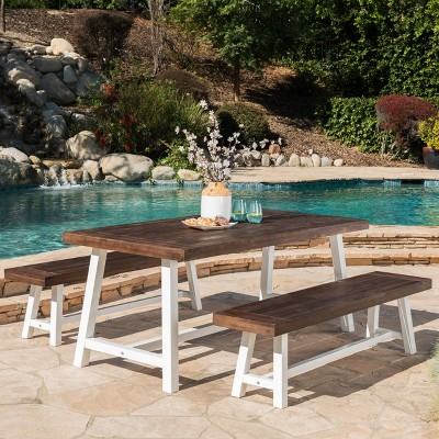 Carlisle 3pc Rustic Wood Patio Dining Set - Christopher Knight Home