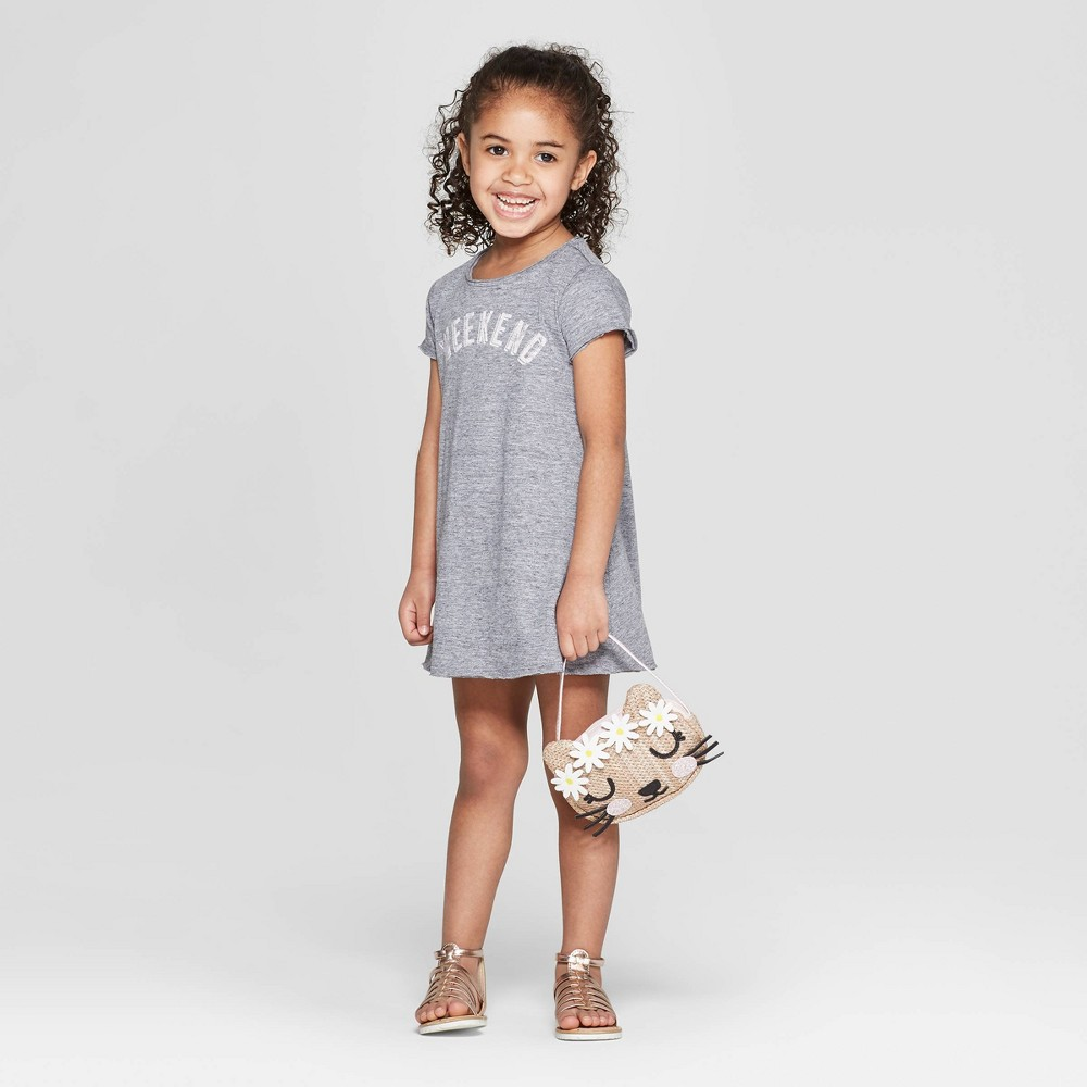 Image of petiteGrayson Mini Toddler Girls' Graphic Short Sleeve A Line Dress - Charcoal 2T, Girl's