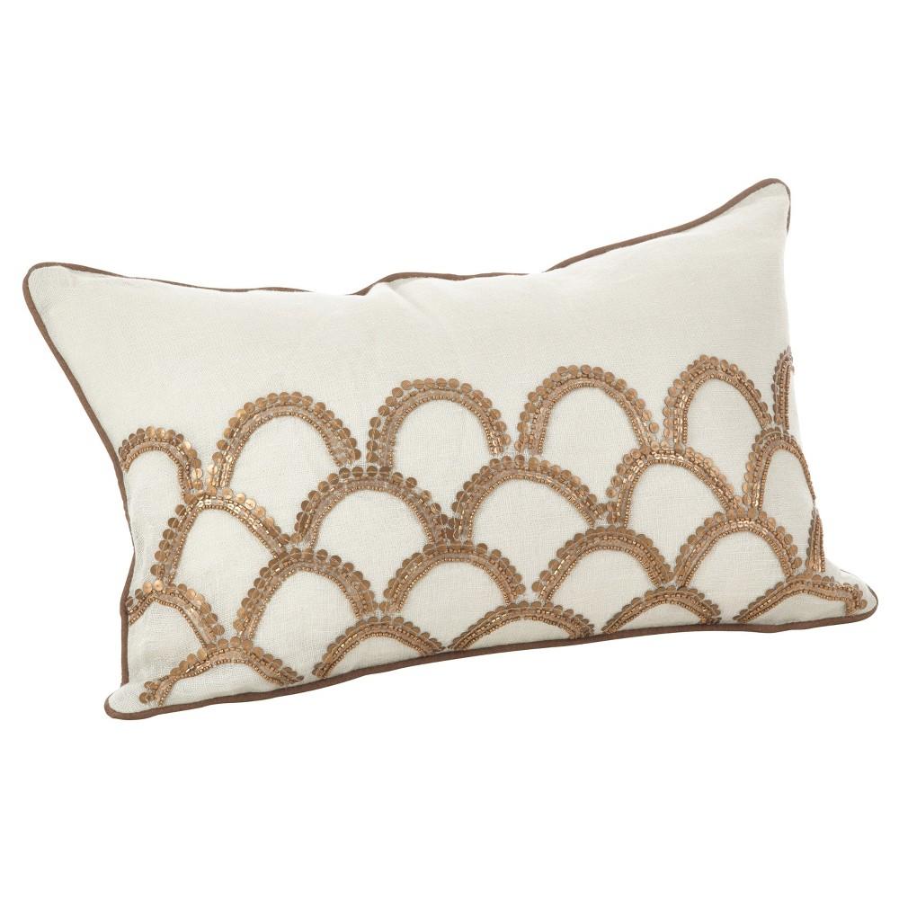 Best Ivory Posh Arch Design Embroidered Throw Pillow 12x20 Saro Lifestyle