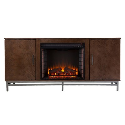 Retim Electric Fireplace with Media Storage Brown/Silver - Aiden Lane