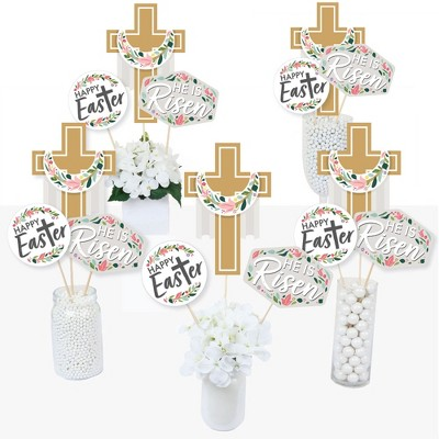 Big Dot of Happiness Religious Easter - Christian Holiday Party Centerpiece Sticks - Table Toppers - Set of 15