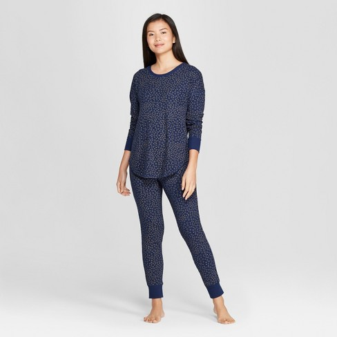 Women's Star Print Thermal Pajama Set - Gilligan & O'Malley™ Blue - image 1 of 2