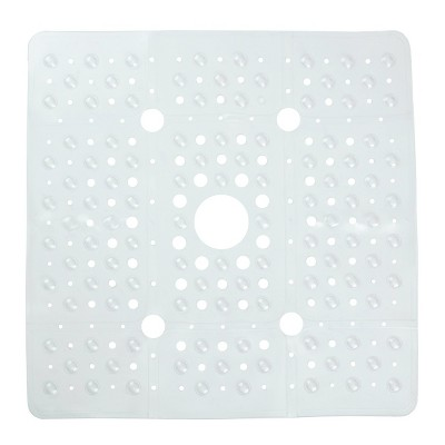 XL Non-Slip Square Shower Mat with Center Drain Hole - Slipx Solutions