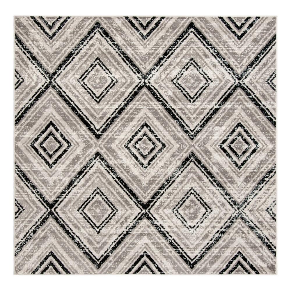 Gray/Black Geometric Loomed Square Area Rug 6'7