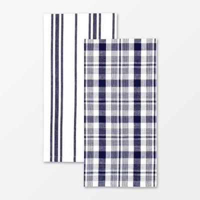 2pk Cotton Farmhouse Towel Navy - MU Kitchen