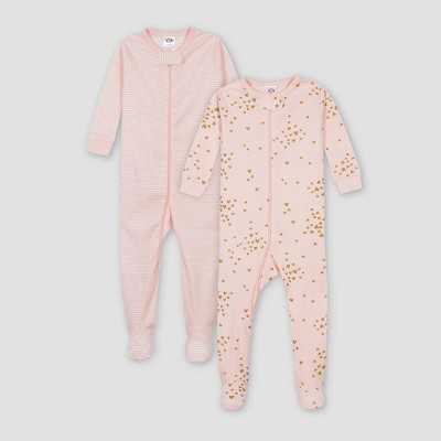 Gerber Baby Girls' 2pk Love Union Suit - Pink 6M