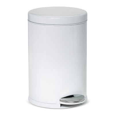 4.5L Round Step Open Trash Can White/Steel - simplehuman
