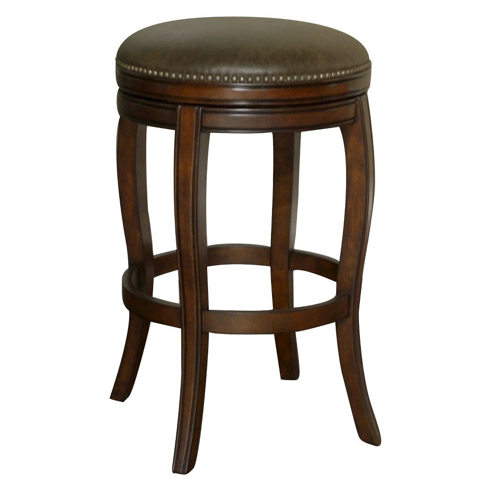 Wilmington Swivel Bonded Leather 26 Counter Stool Hardwood/Coco Brown - American Heritage Billiards, Navajo/Coco