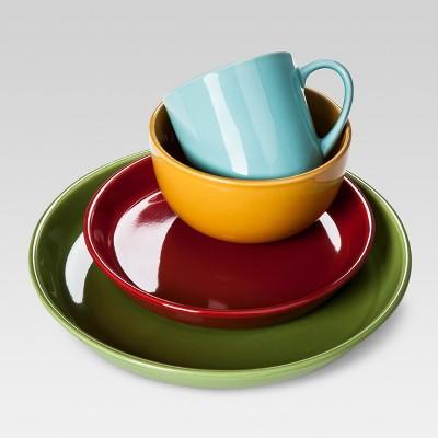 Stoneware 16pc Dinnerware Set Blue/Yellow/Red/Green - Threshold™