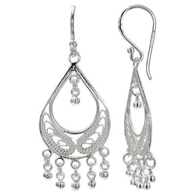 """Filigree Teardrop Earrings in Sterling Silver - Silver (1.5"""")"""