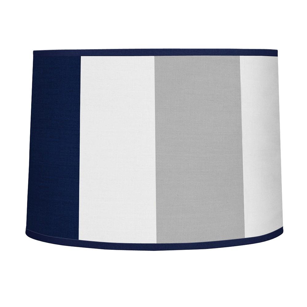 Navy 38 Gray Stripe Lampshade Sweet Jojo Designs