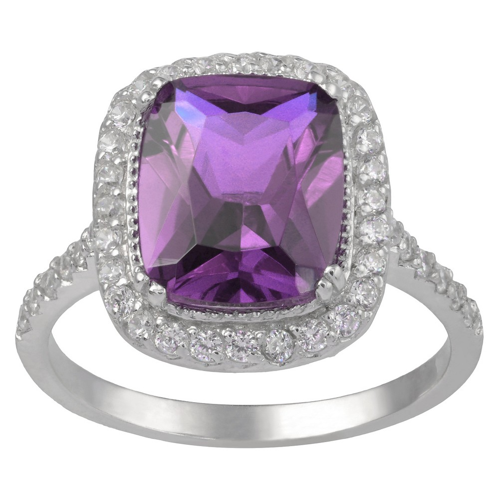 4 1/8 CT. T.W. Cushion-Cut Cubic Zirconia Basket Set Halo Ring in Sterling Silver - Purple (5), Girl's