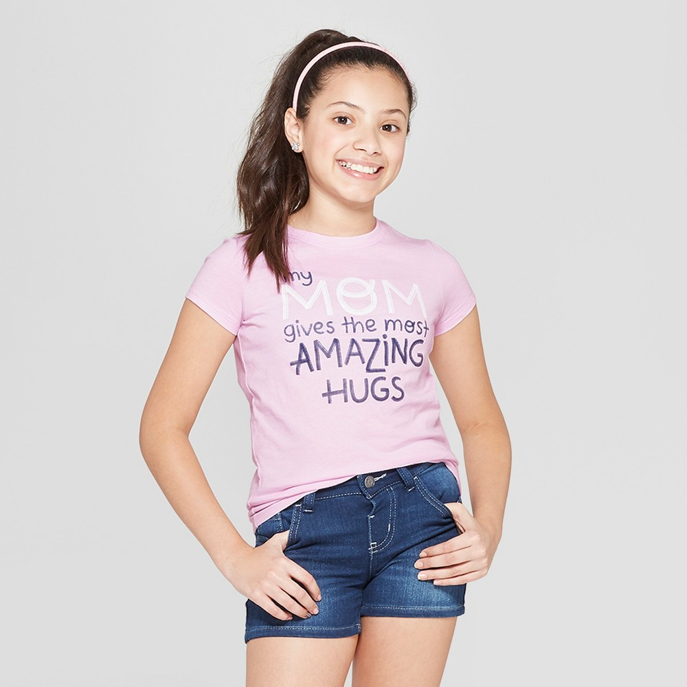 Girls' Short Sleeve Mom Hugs Graphic T-Shirt - Cat & Jack Purple S