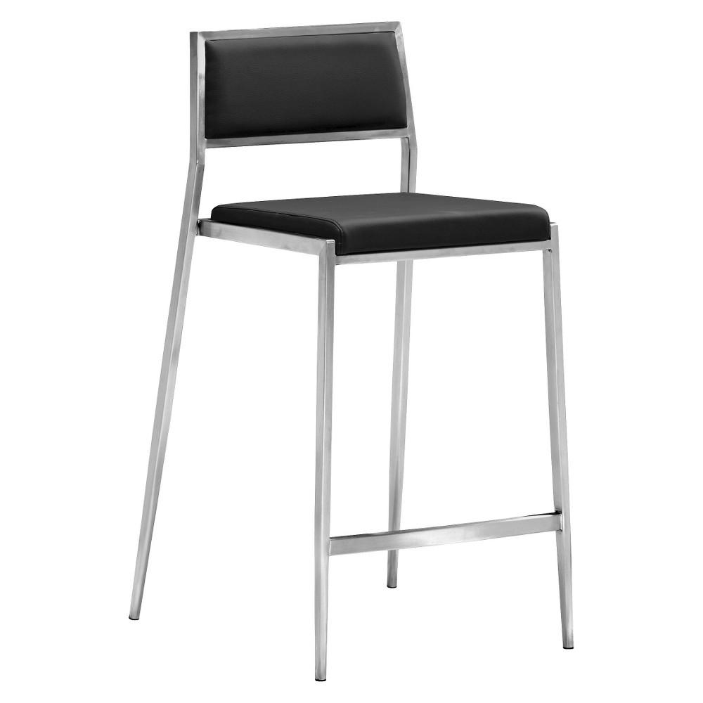Sleek Minimalist 26 Counter Chair - Black (Set of 2) - ZM Home