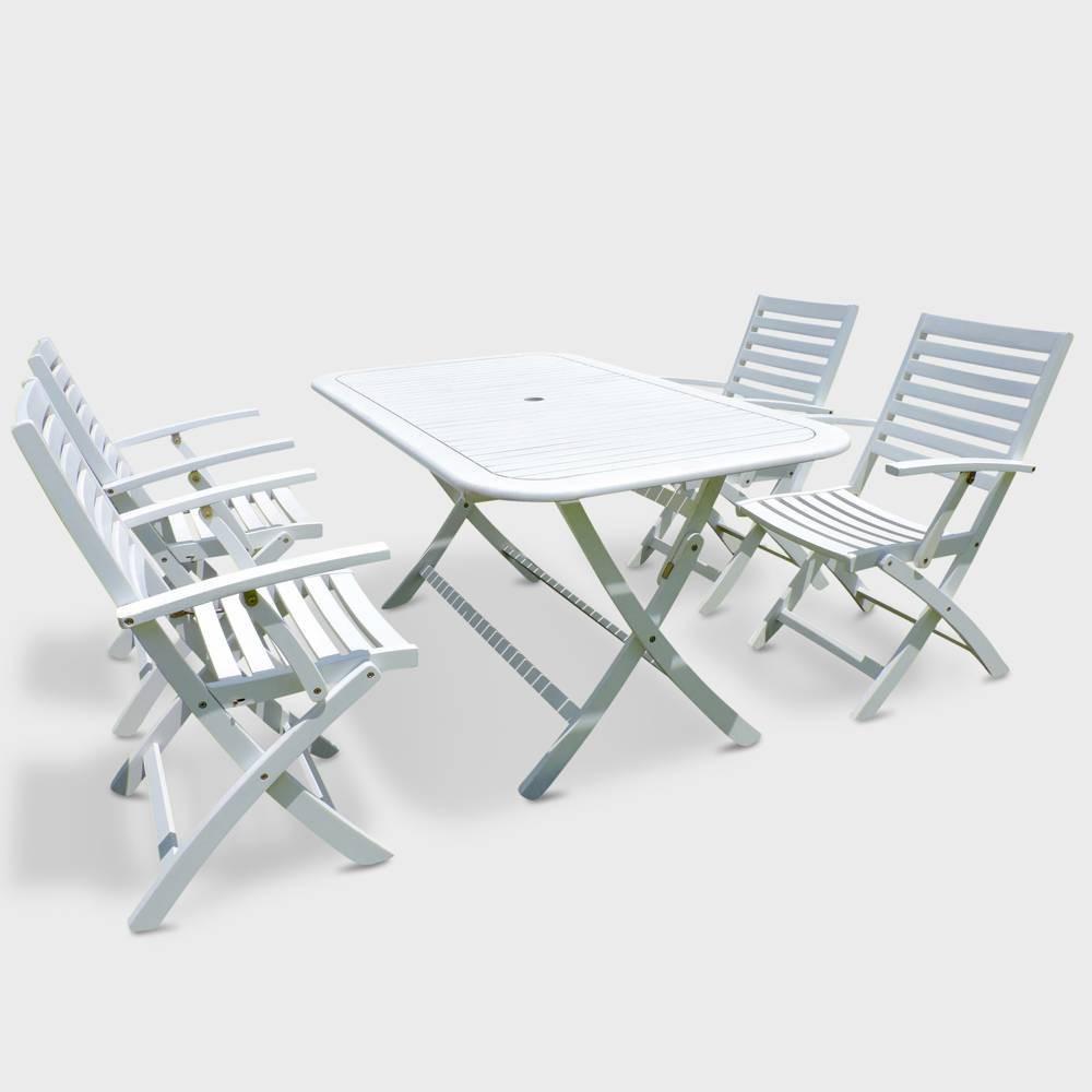 Pontenza 5pc Acacia Wood Patio Dining Set - Off White - International Caravan