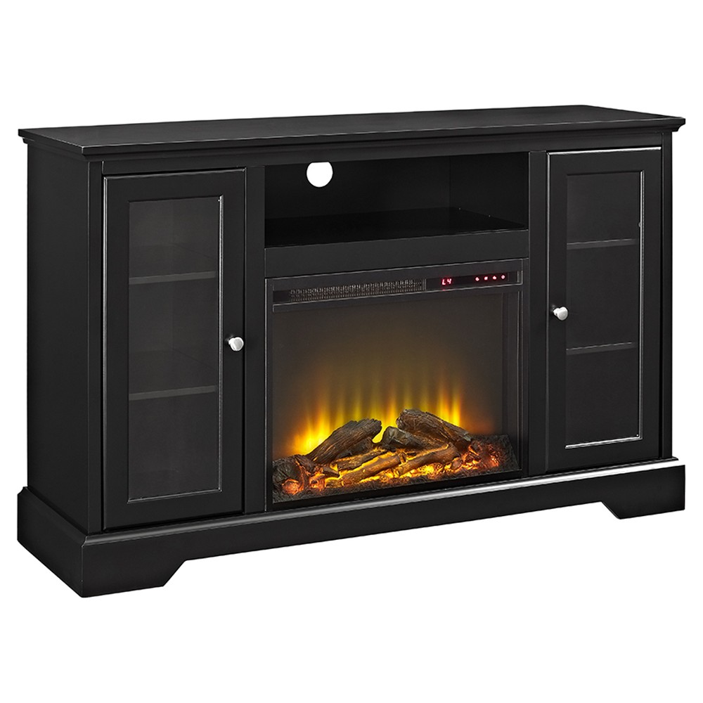 52  Highboy Fireplace Wood TV Stand Console - Black - Saracina Home Bring a touch of elegance and warmth to your entertaining space while showcasing your TV, accessories and other decor with this Highboy Fireplace TV Console from Saracina Home. This media center offers an open shelf to easily store your media equipment, while the glass-covered shelves offer the perfect place to display anything from your favorite movies to sculptures. Plus, with the built-in fireplace, your space will instantly be cozier. Color: Black. Gender: unisex.