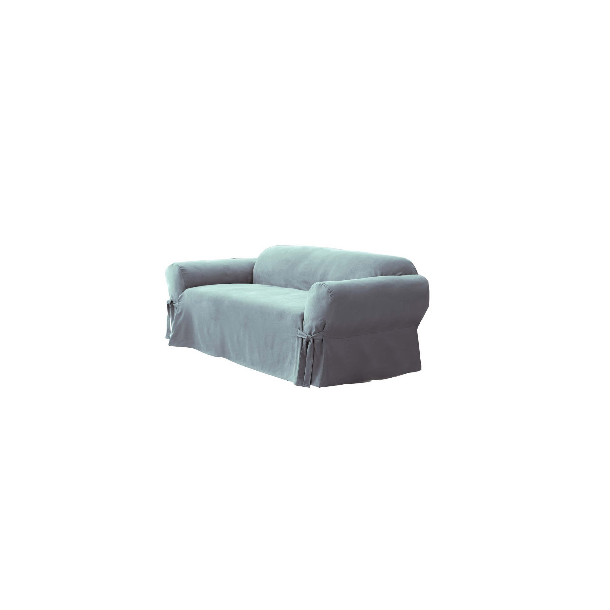 Soft Suede Loveseat Slipcover Smoke Blue - Sure Fit, Grey Blue