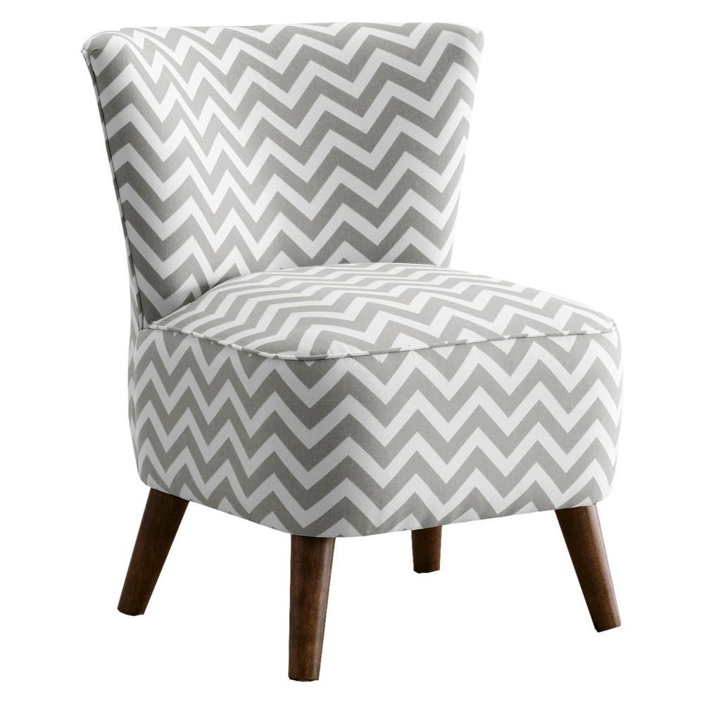 Skyline Custom Upholstered Mid Century Modern Armless Chair - Skyline Furniture, Zig Zag Ash/White