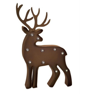 """Melrose 21"""" Brown Rustic Standing LED Lighted Reindeer Marquee Christmas Decor"""