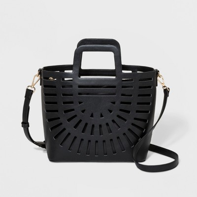 889fb043026f Laser Cut Tote Handbag – A New Day™ Black – Target Inventory Checker ...