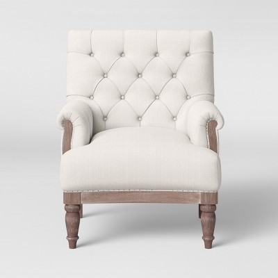 Alford Rolled Arm Tufted Chair with Turned Legs Cream - Threshold™