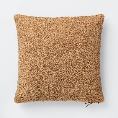 Boucle Square Throw Pillow with Exposed Zipper Brown - Threshold™ designed with Studio McGee