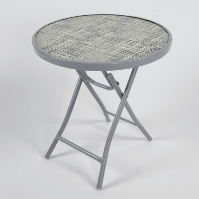 Folding Patio Accent Table Black/White Linen   Threshold™ : Target