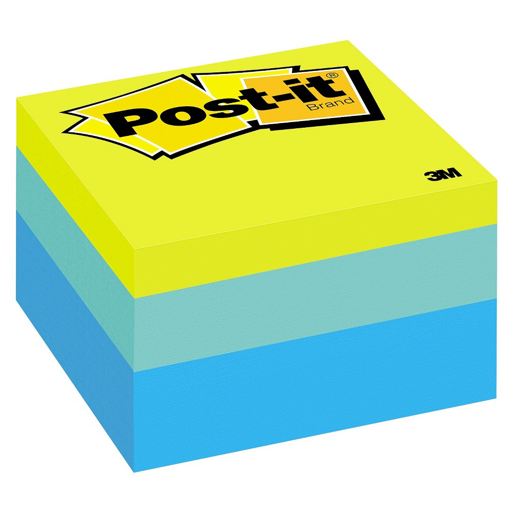 Post-it Notes Cube, 3 x 3, Ribbon Candy, 470 Sheets, Yellow/Turquoise