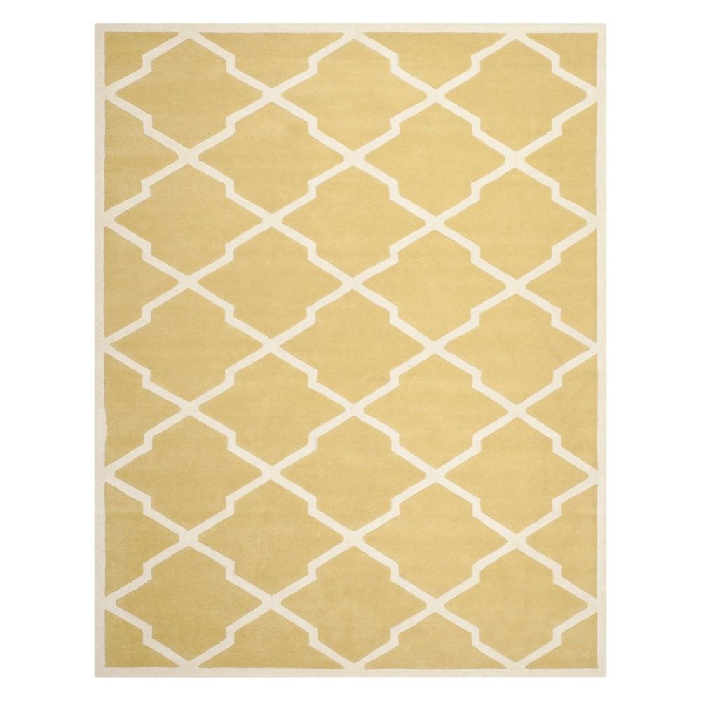 8'9X12' Quatrefoil Design Tufted Area Rug Light Gold/Ivory - Safavieh