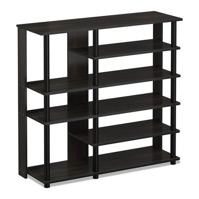 Furinno Turn-N-Tube Multipurpose Storage Shoe Rack Shelf Organizer for Home Entryways, Living Rooms, and Mud Rooms, Espresso Black