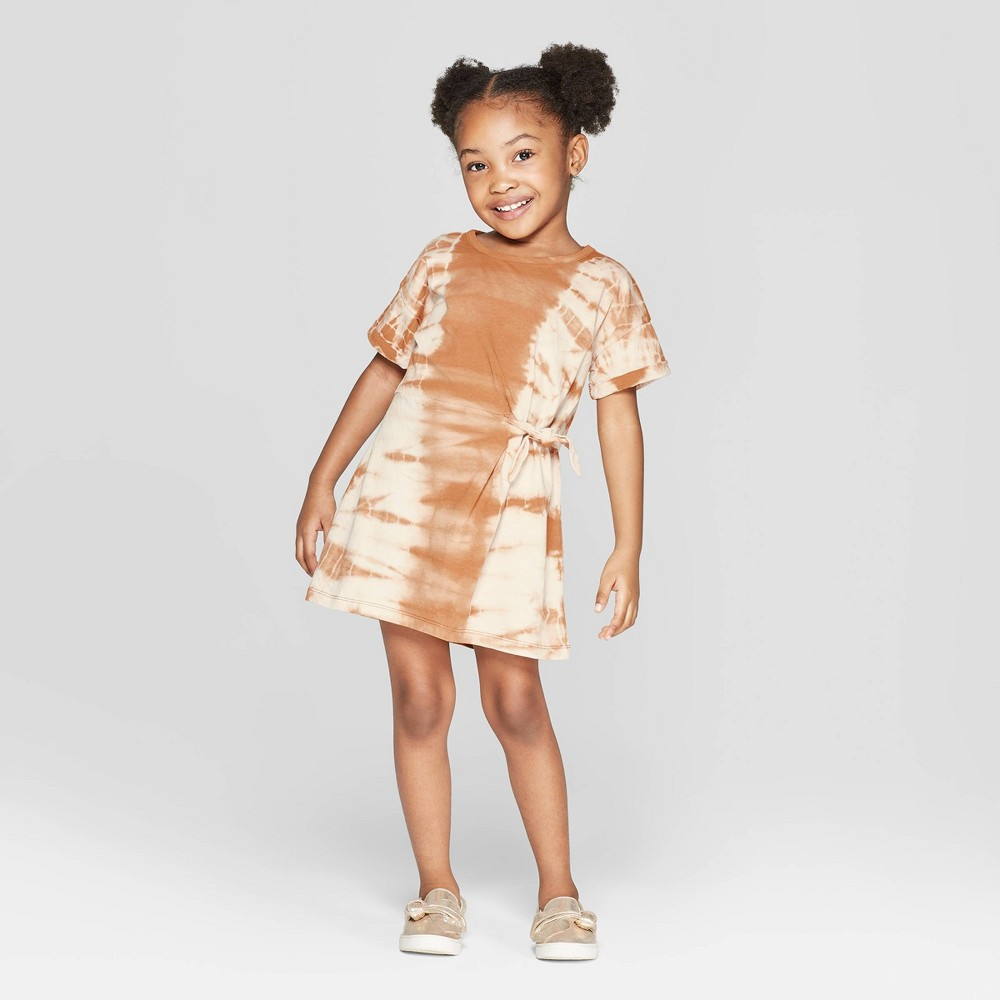 Toddler Girls' Tie Dye Tunic Dress - art class Brown 18M, Orange