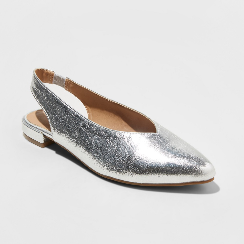 Women's Nicka Sling Back Ballet Flats - A New Day Silver 7.5