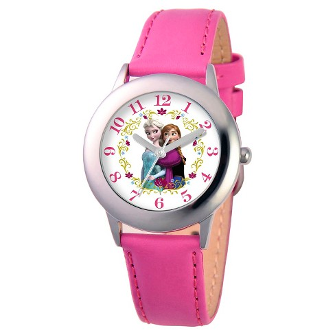 Disney® Girls' Frozen Anna and Elsa Stainless Steel Case Watch - Pink - image 1 of 2