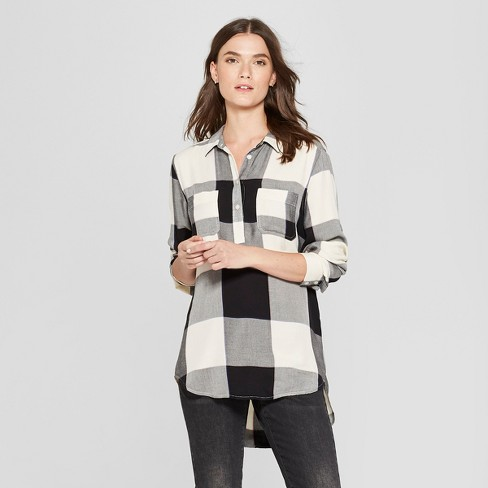 84670e2d Women's Plaid Long Sleeve Tunic - Universal Thread™ Black L : Target