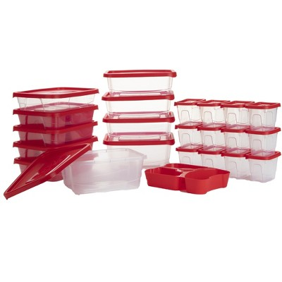 Mind Reader Meal Prep Food Storage Plastic Containers with Lids, Set of 22 , Red