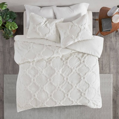 Leena Cotton Chenille Geometric Comforter Set