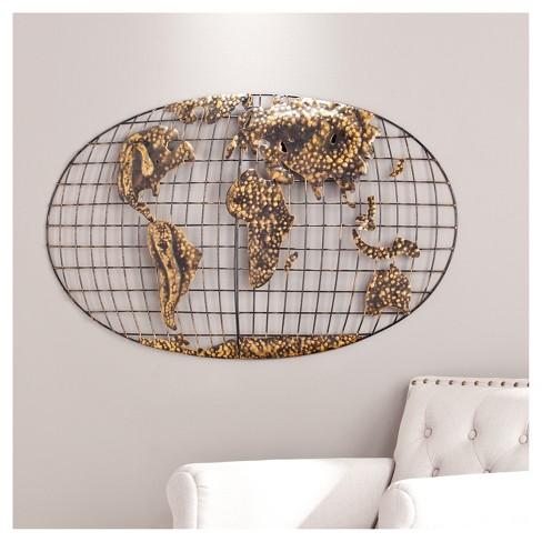 Iron World Map Wall Art - Brushed Gold - Aiden Lane : Target
